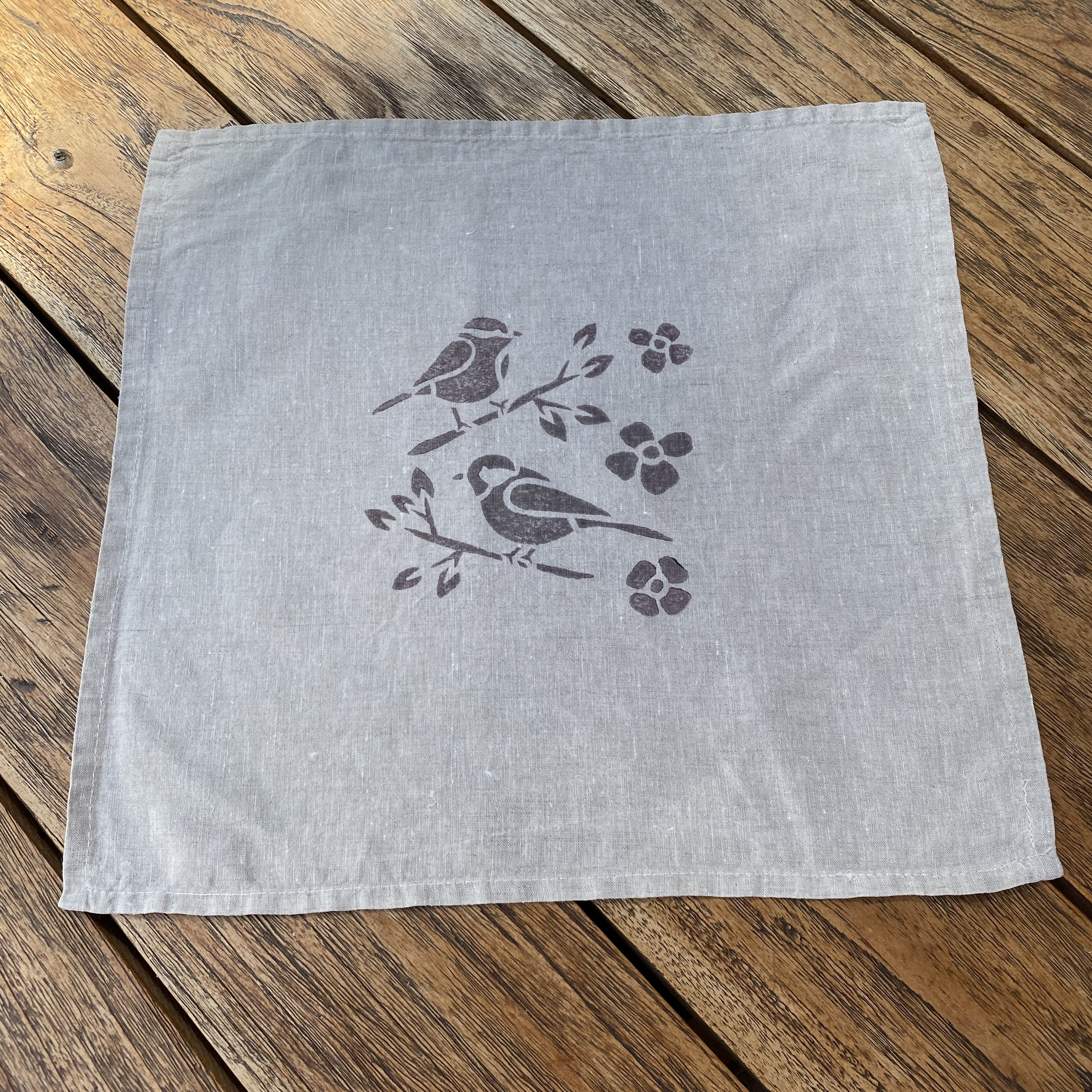 Set of 8 Hand Block Printed Napkins in Grey