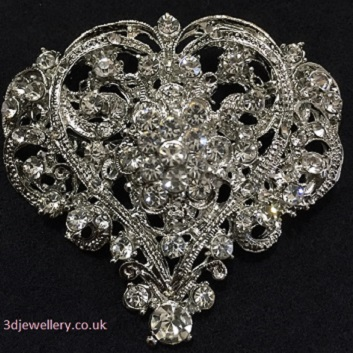 Diamante brooches  - Victoria vintage style heart silver brooch 55x58mm
