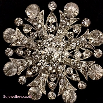 Large diamante brooches - vintage style fancy silver brooch 55 mm
