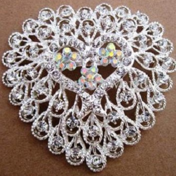 Extra large brooches - large silver heart shaped brooch 70 x70 mm