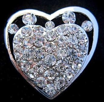 Small silver brooches - solid heart shaped diamante brooch 35 mm