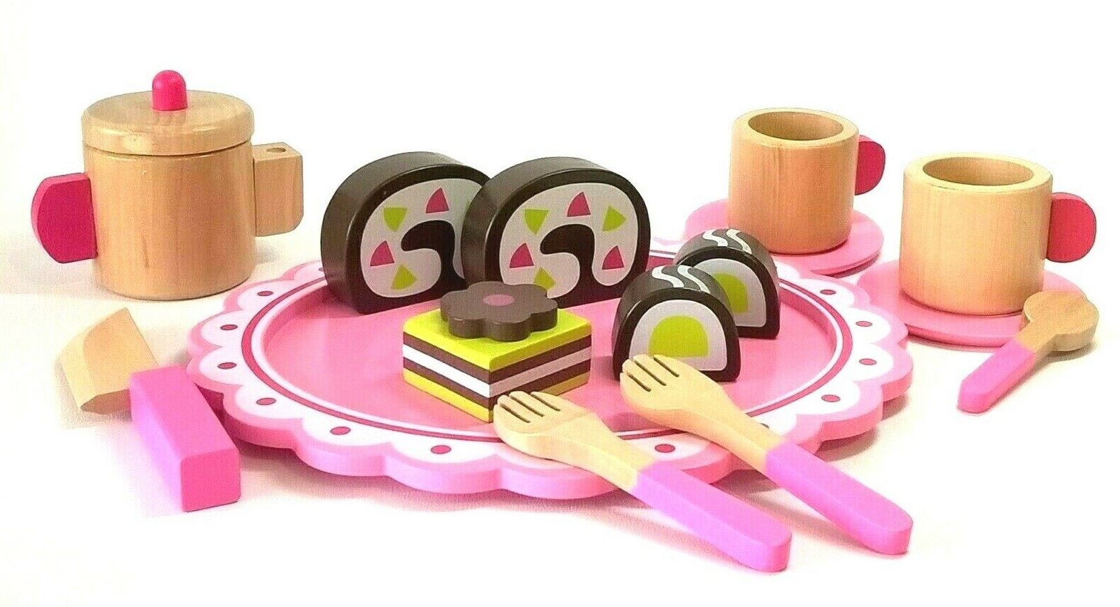 WOODEN TEA SET & CAKE PLAYSET - 15 Piece Toy by Tooky Toys - Ages 3+