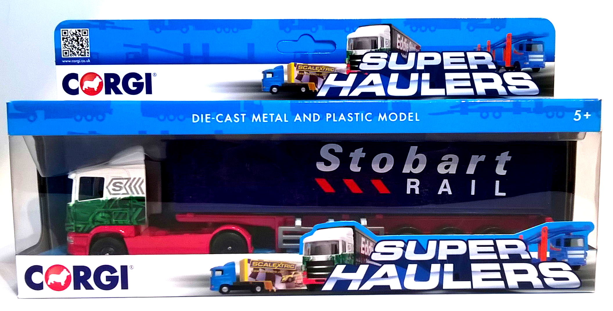 EDDIE STOBART SKELETAL RAIL TRAILER TRUCK - 1:64 Scale Die-Cast Lorry Model by Corgi