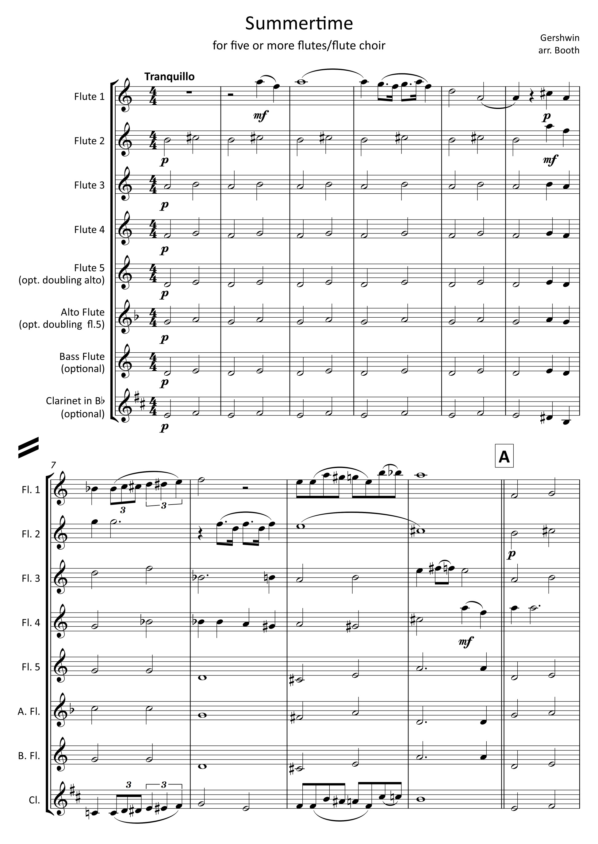 Summertime by Gershwin,  arranged by Zoë Booth for five or more flutes/flute choir