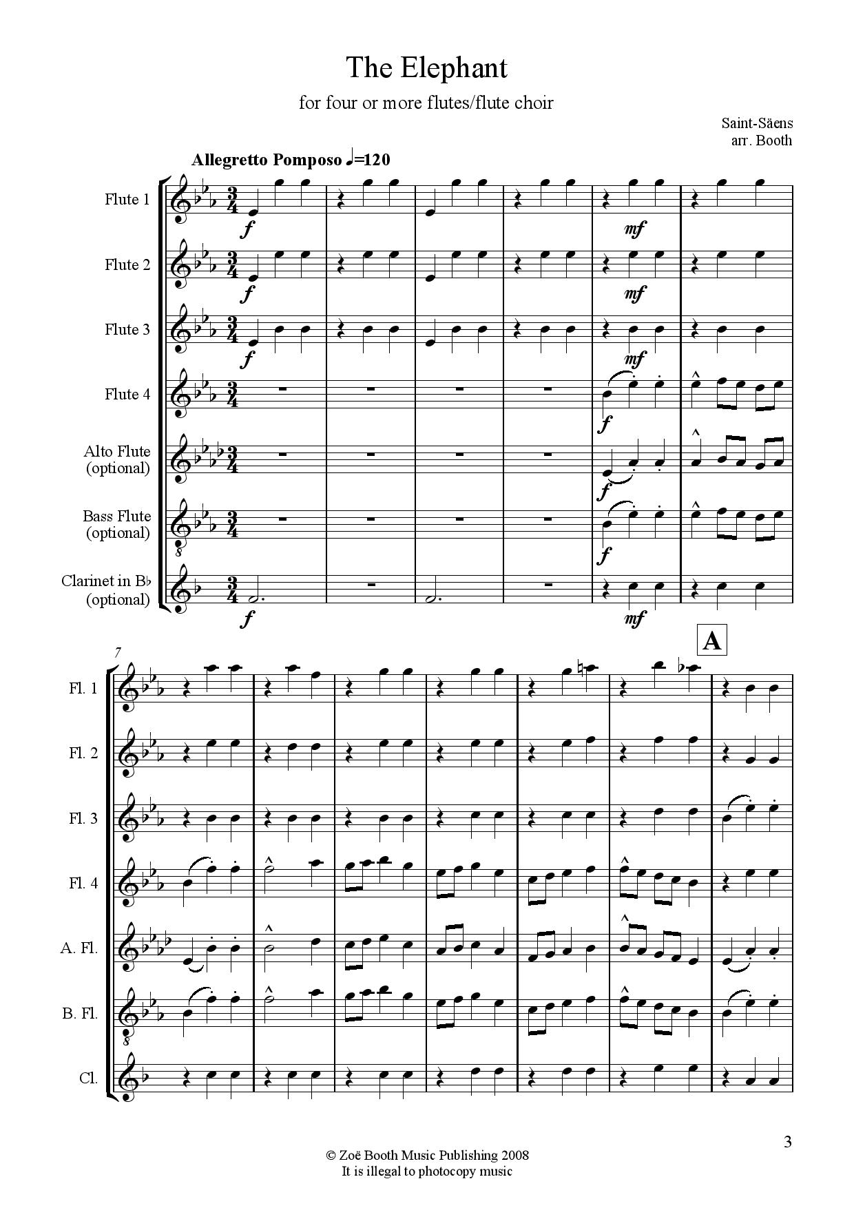 The Elephant by Saint-Saëns  arranged by Zoë Booth for four or more flutes/flute choir
