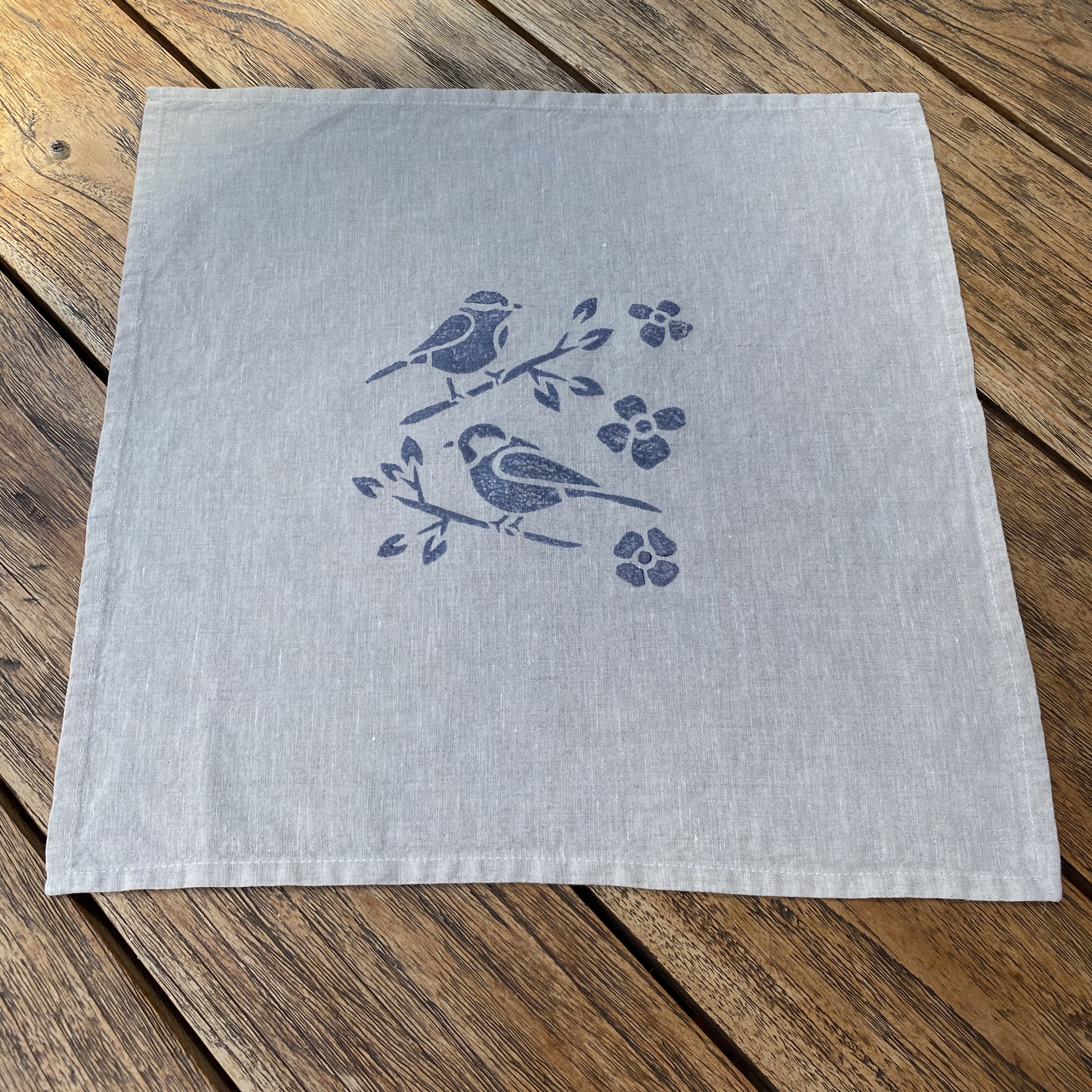 Set of 8 Hand Block Printed Napkins in Blue
