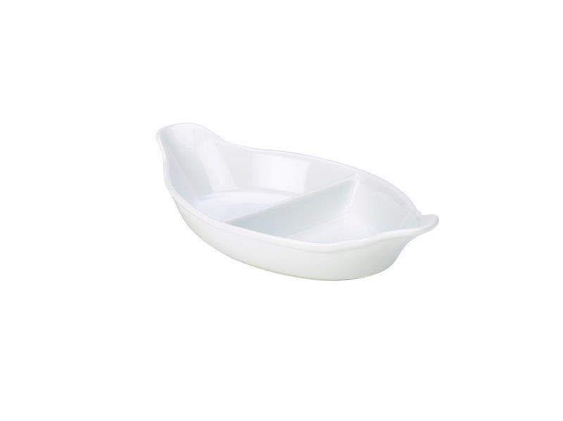 Genware Divided Veg. Dish 28cm White