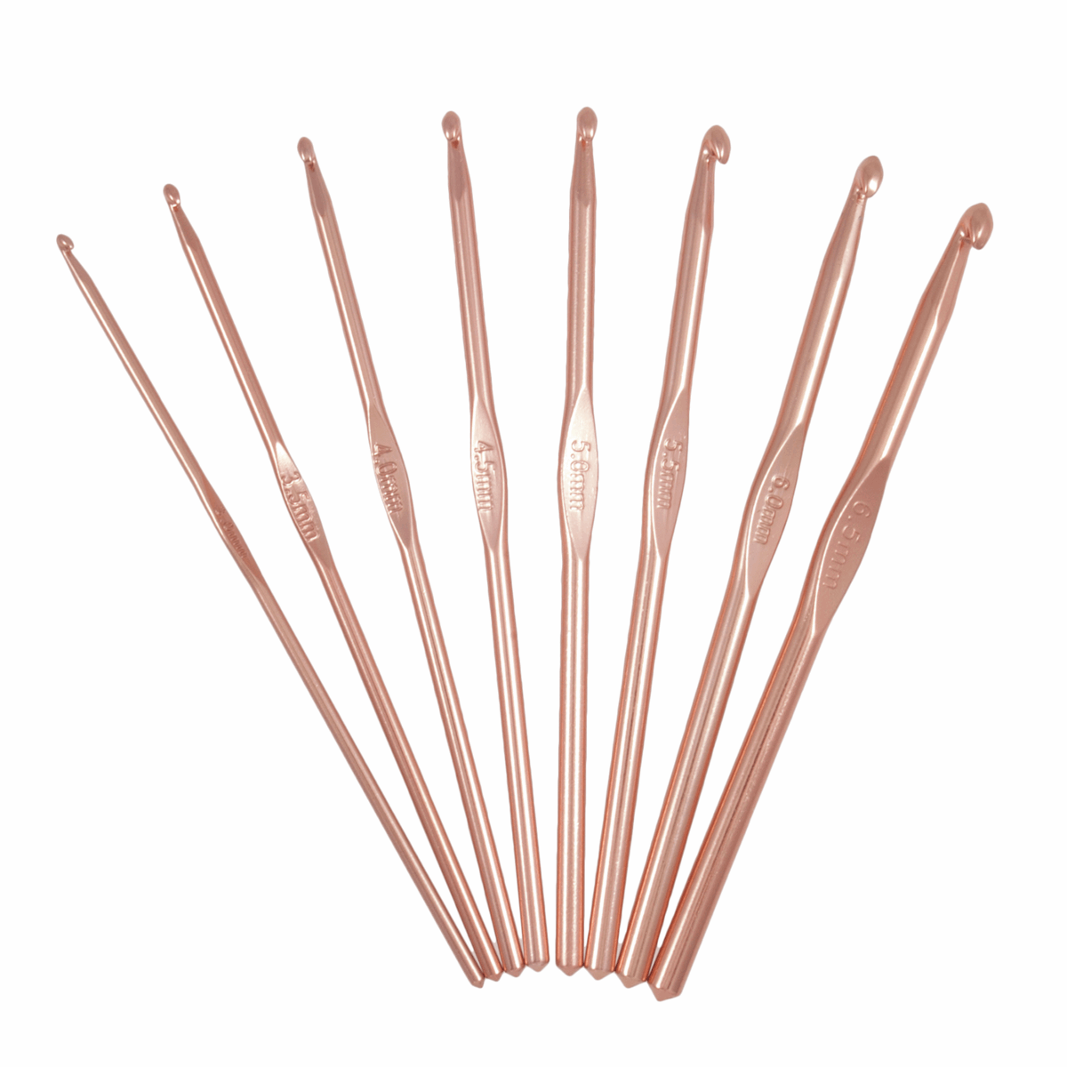 Crochet Hook Set: Rose Gold: Set of 8