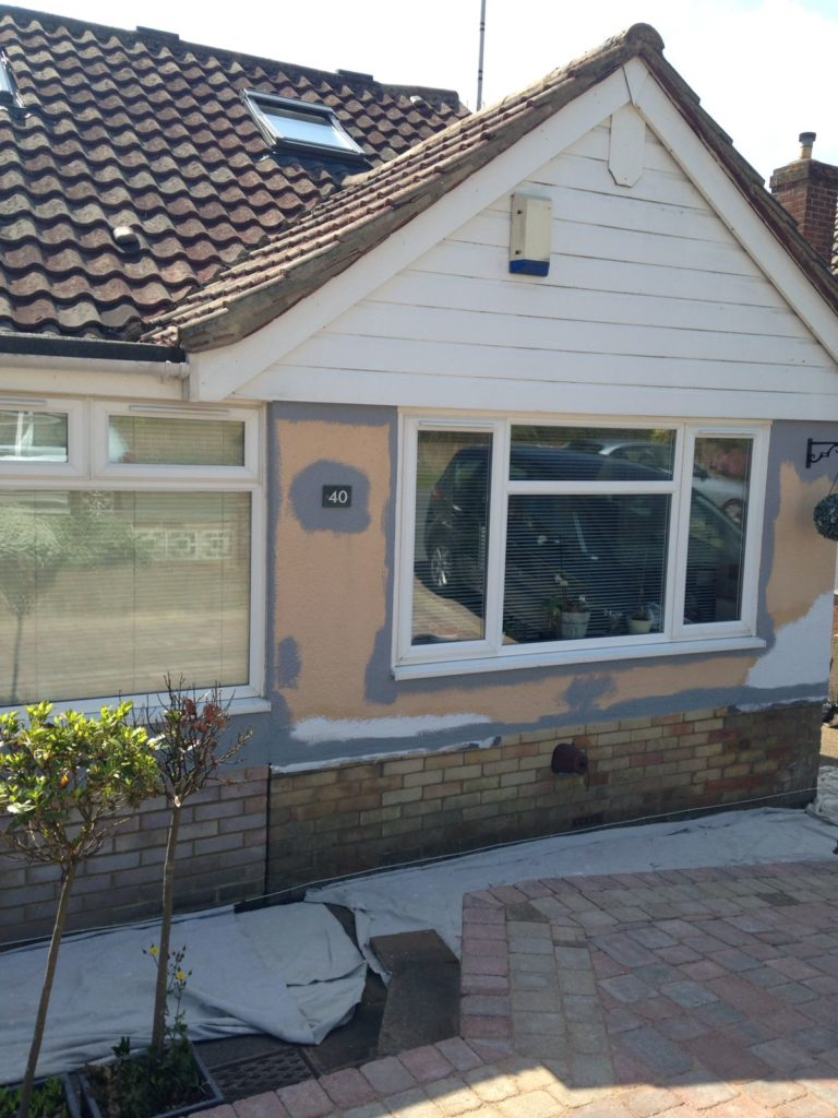 Front of bungalow during redecoration