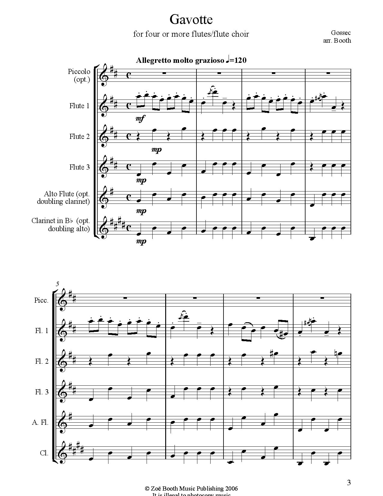 Gavotte by Gossec,  Arranged by Zoë Booth for three or more flutes/flute choir