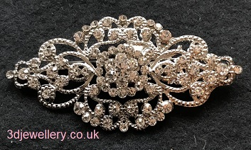 Large diamante brooches - vintage style silver sash brooch 53 mm x 43 mm
