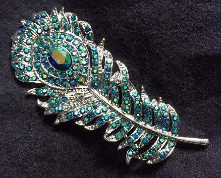 Coloured brooches - peacock feather brooch with multi coloured stones 70 x 30 mm