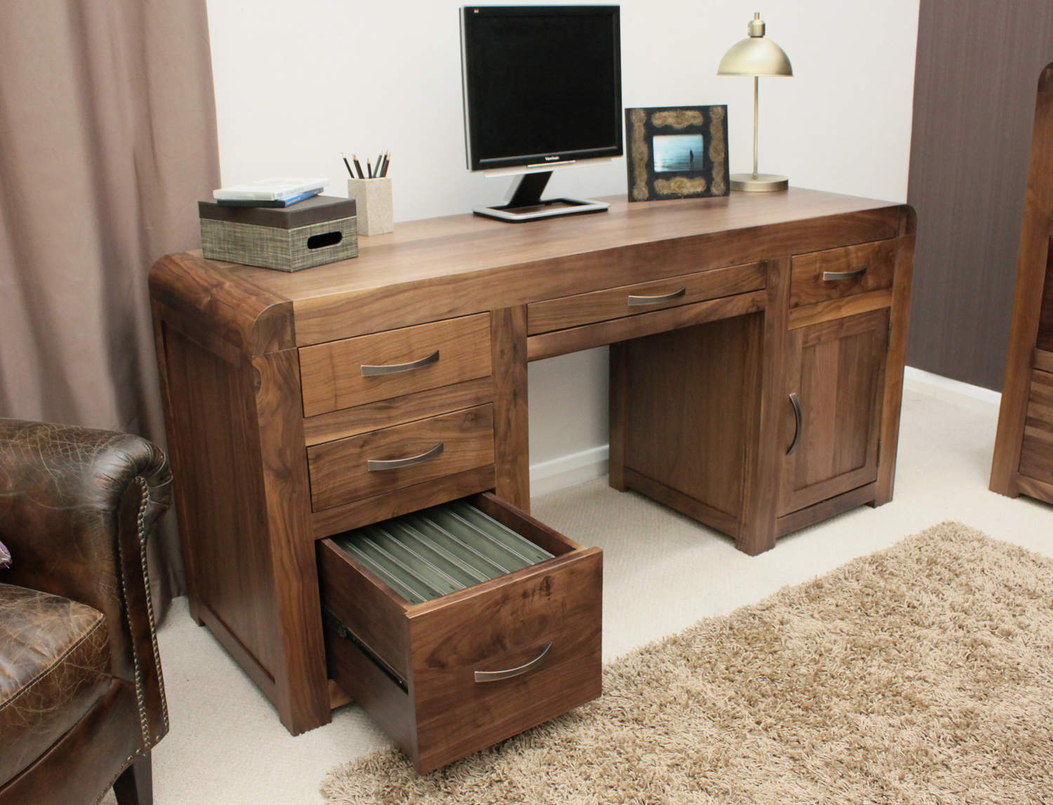 SHIRO - WALNUT TWIN PEDESTAL COMPUTER DESK