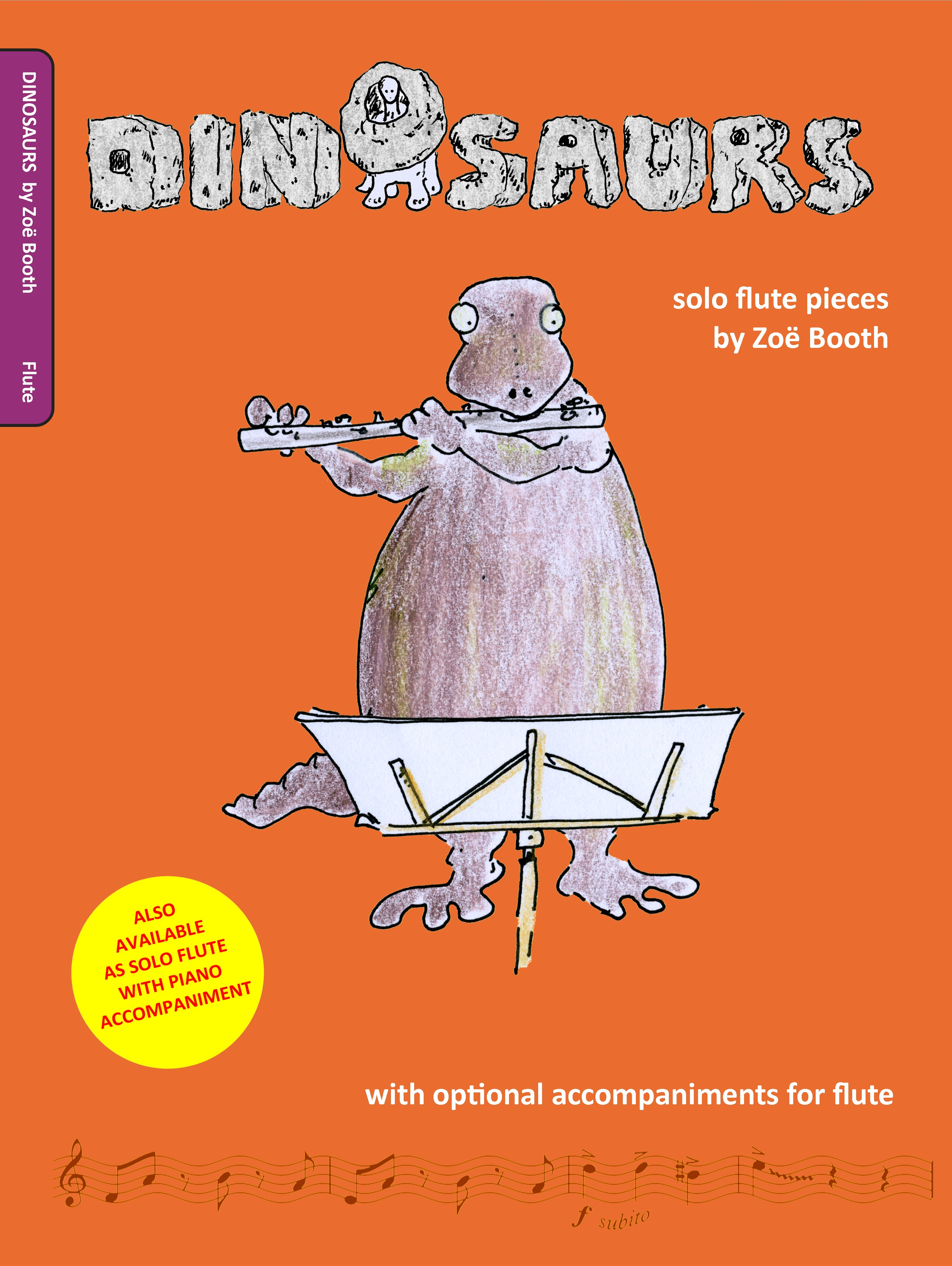 Dinosaurs for flute by Zoë Booth with optional flute accompaniment