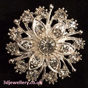 Small silver brooches - cluster of flowers brooch 35 mm