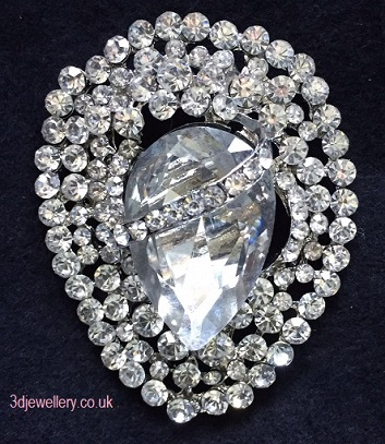Large diamante brooches -wrapped jewel silver brooch 45 x 55 mm