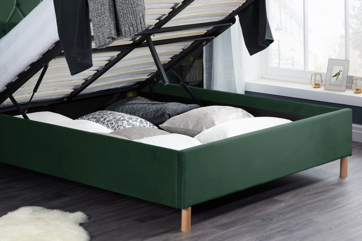 Loxley Double 4.6FT Ottoman Fabric Bed - Green Velvet