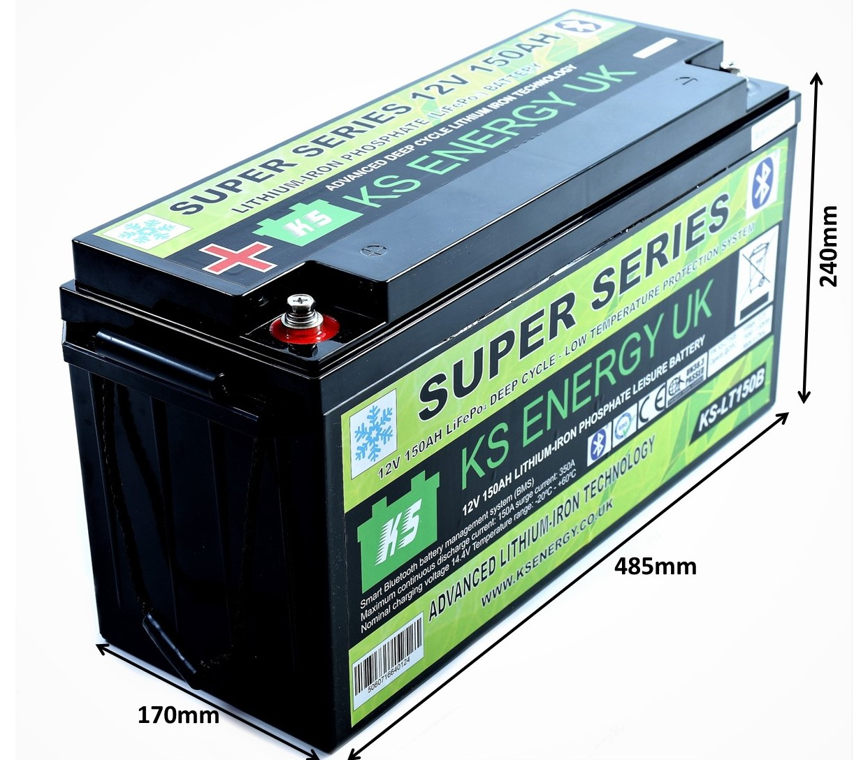 4): KS-LT150B 12v 150AH Bluetooth High Power LiFePo4 lithium leisure battery