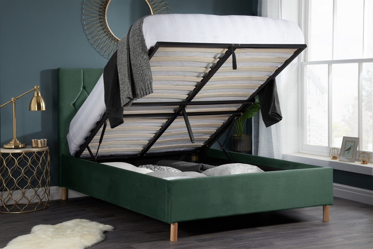 Loxley Small Double 4FT Ottoman Fabric Bed - Green Velvet