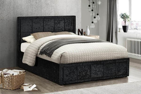 HANNOVER FABRIC OTTOMAN BLACK VELVET BED - SMALL DOUBLE 4FT