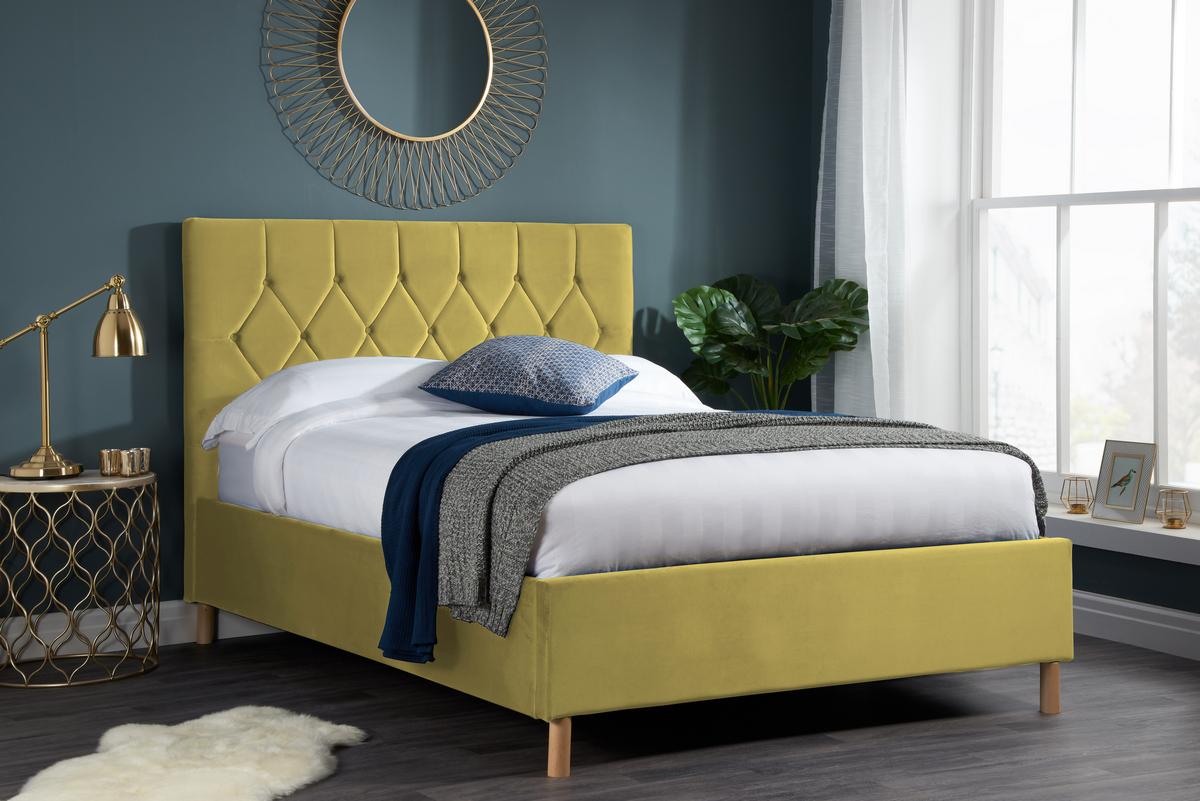 Loxley Double 4.6FT Ottoman Fabric Bed - Mustard