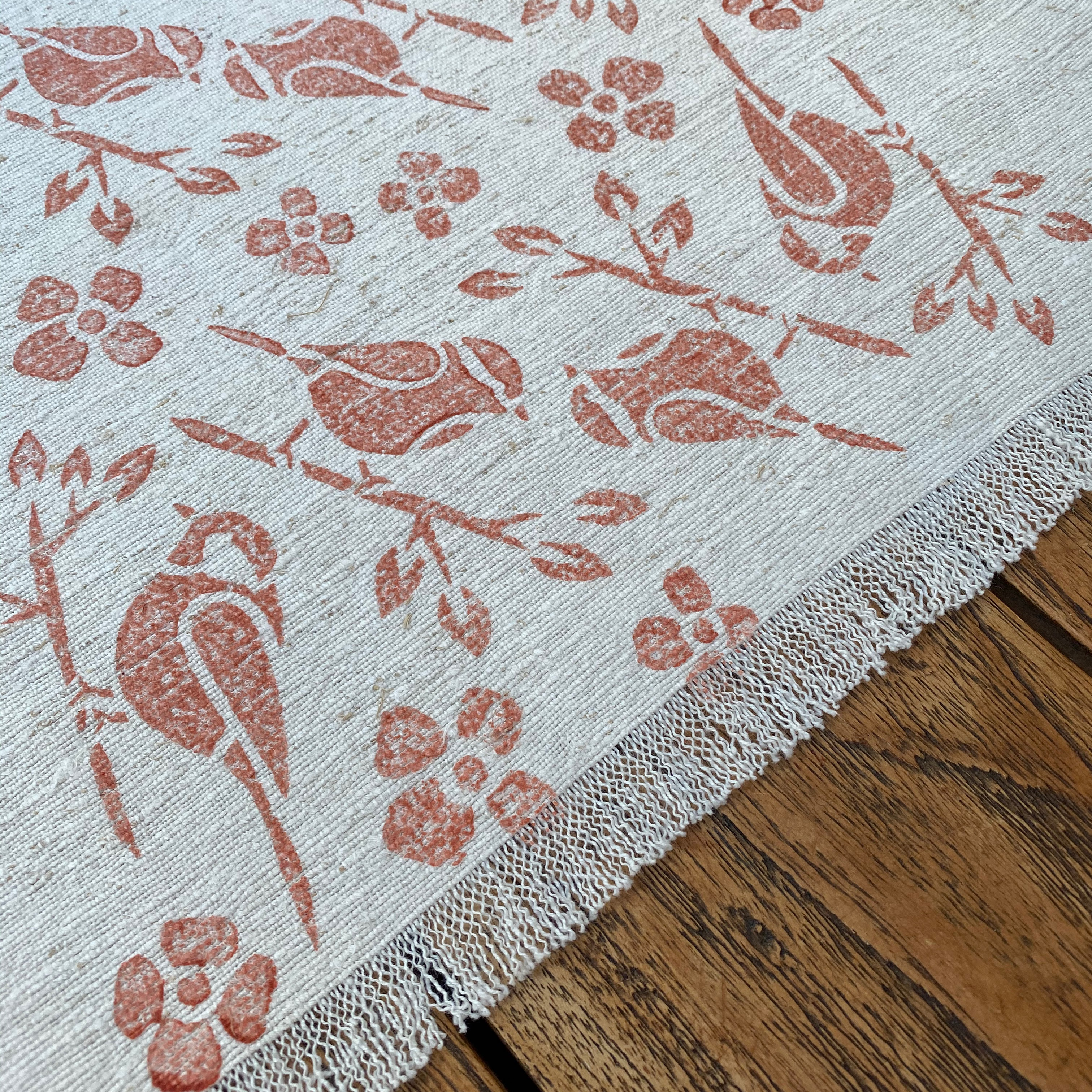 Hand Block Printed Table Runner in Burnt Orange