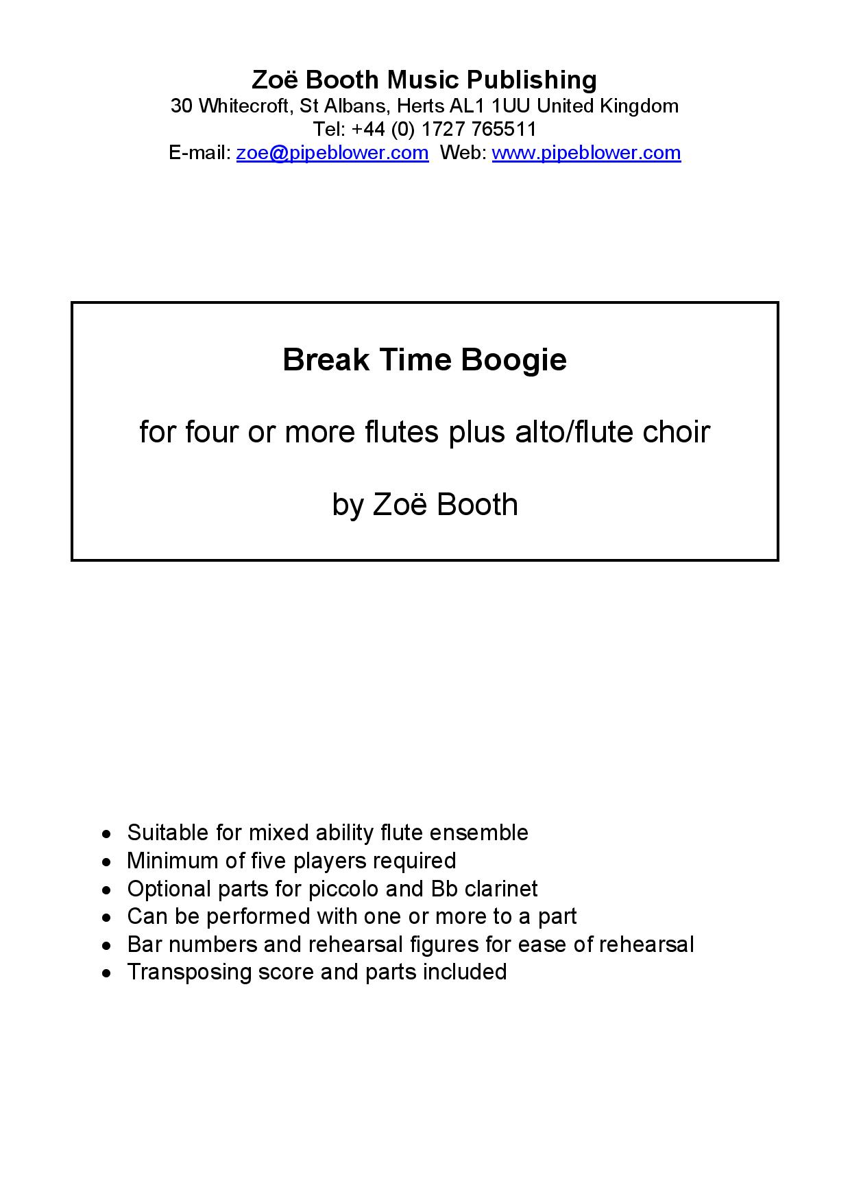 Breaktime Boogie  by Zoë Booth for five or more flutes/flute choir