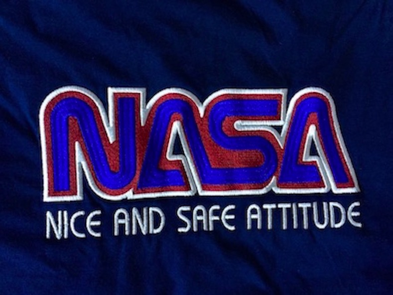 nice and safe attitude nasa embroidery embroidered