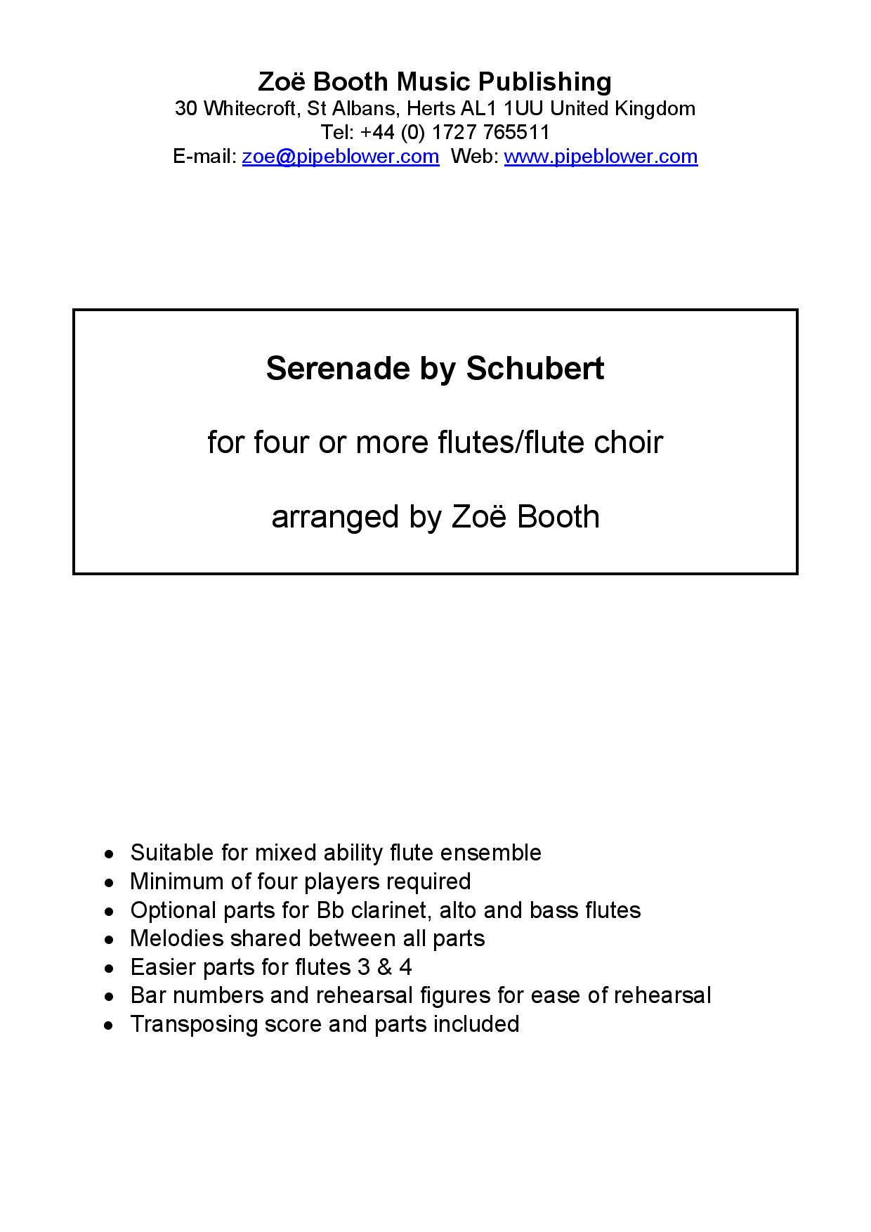 Serenade by Schubert  arranged by Zoë Booth for four or more flutes/flute choir