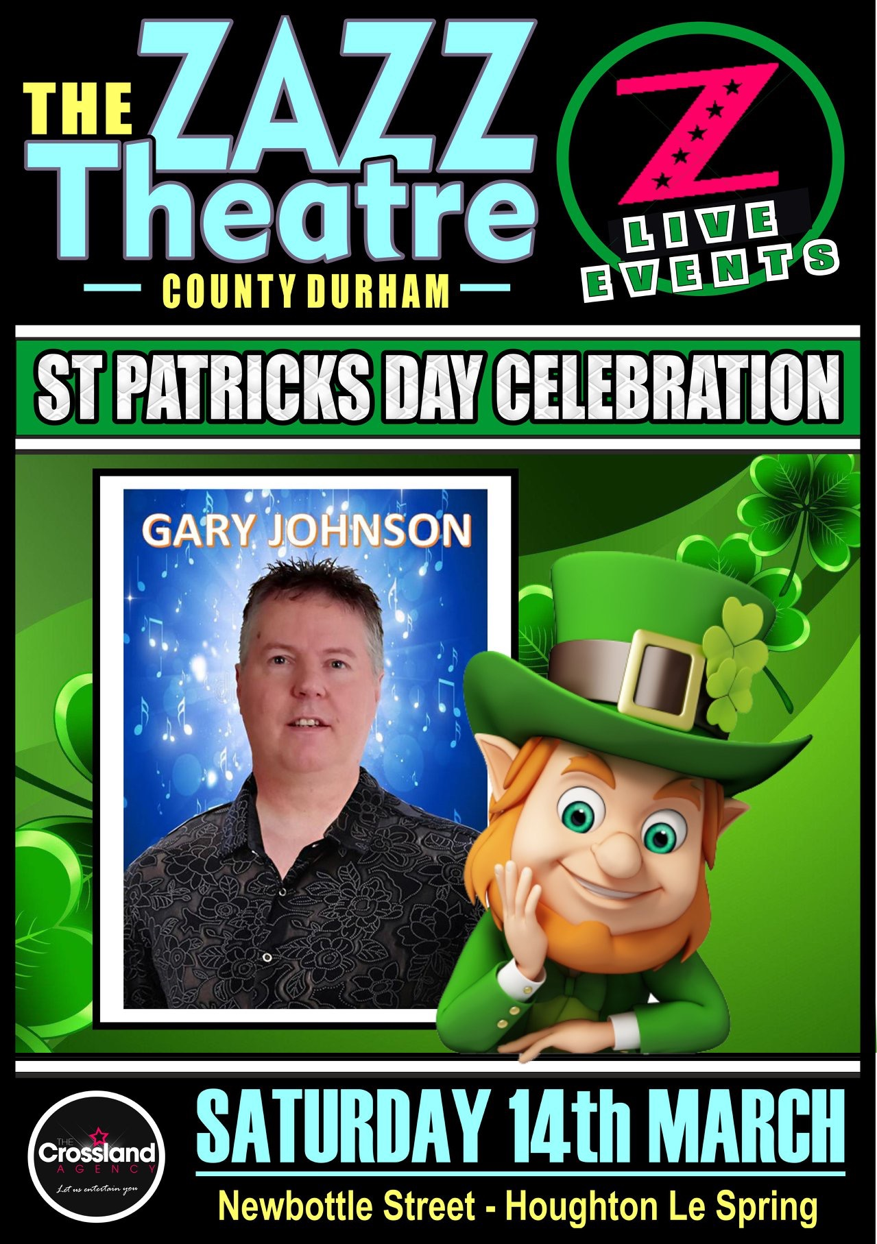 St Patrick's night singer Gary Johnson and the Riverdancing Girls - Sat  14th March 2020
