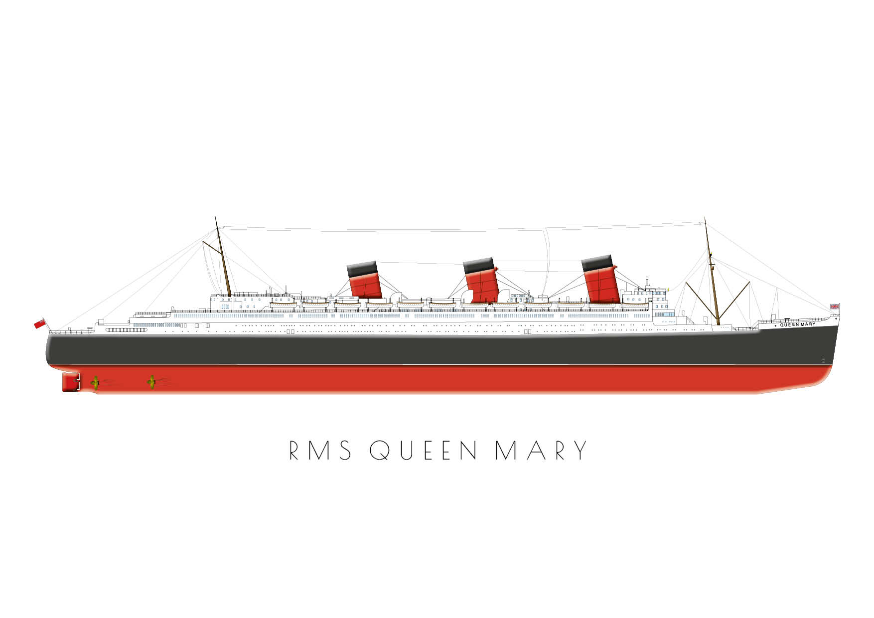 RMS Queen Mary - Postcard