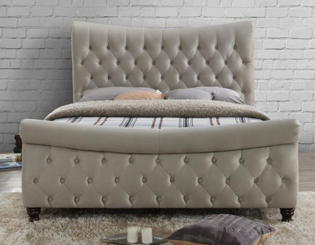 COPENHAGEN KING SIZE FABRIC BED – WORM STONE