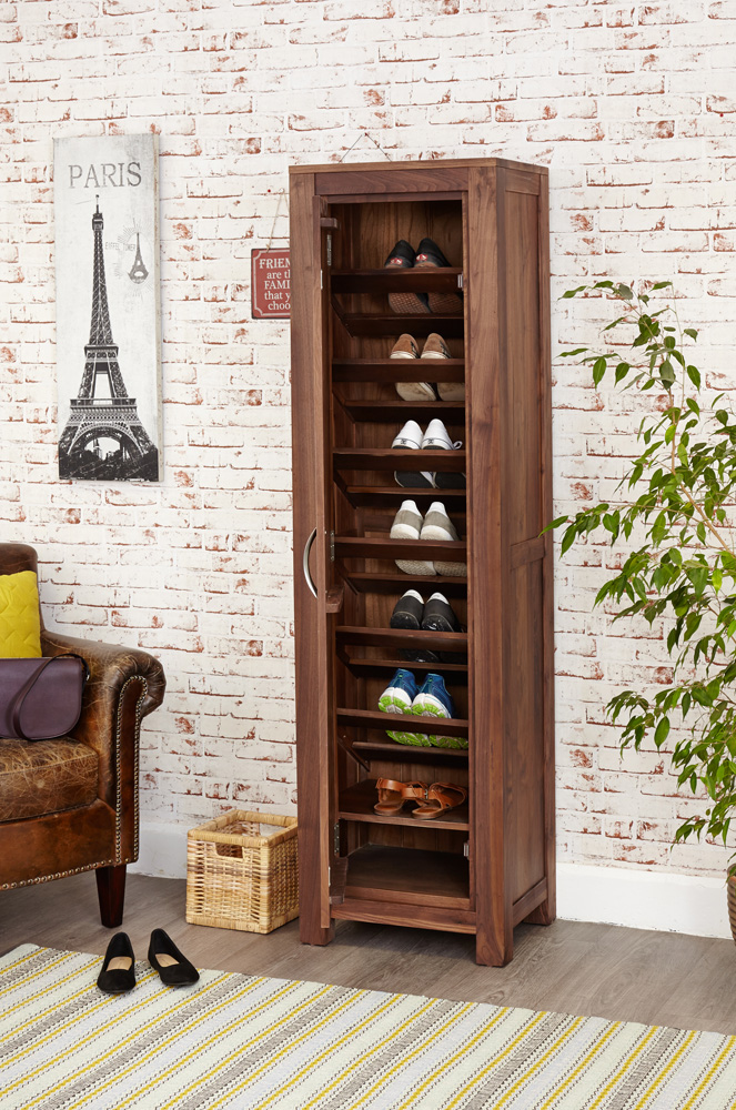 MAYAN - WALNUT TALL SHOE CUPBOARD