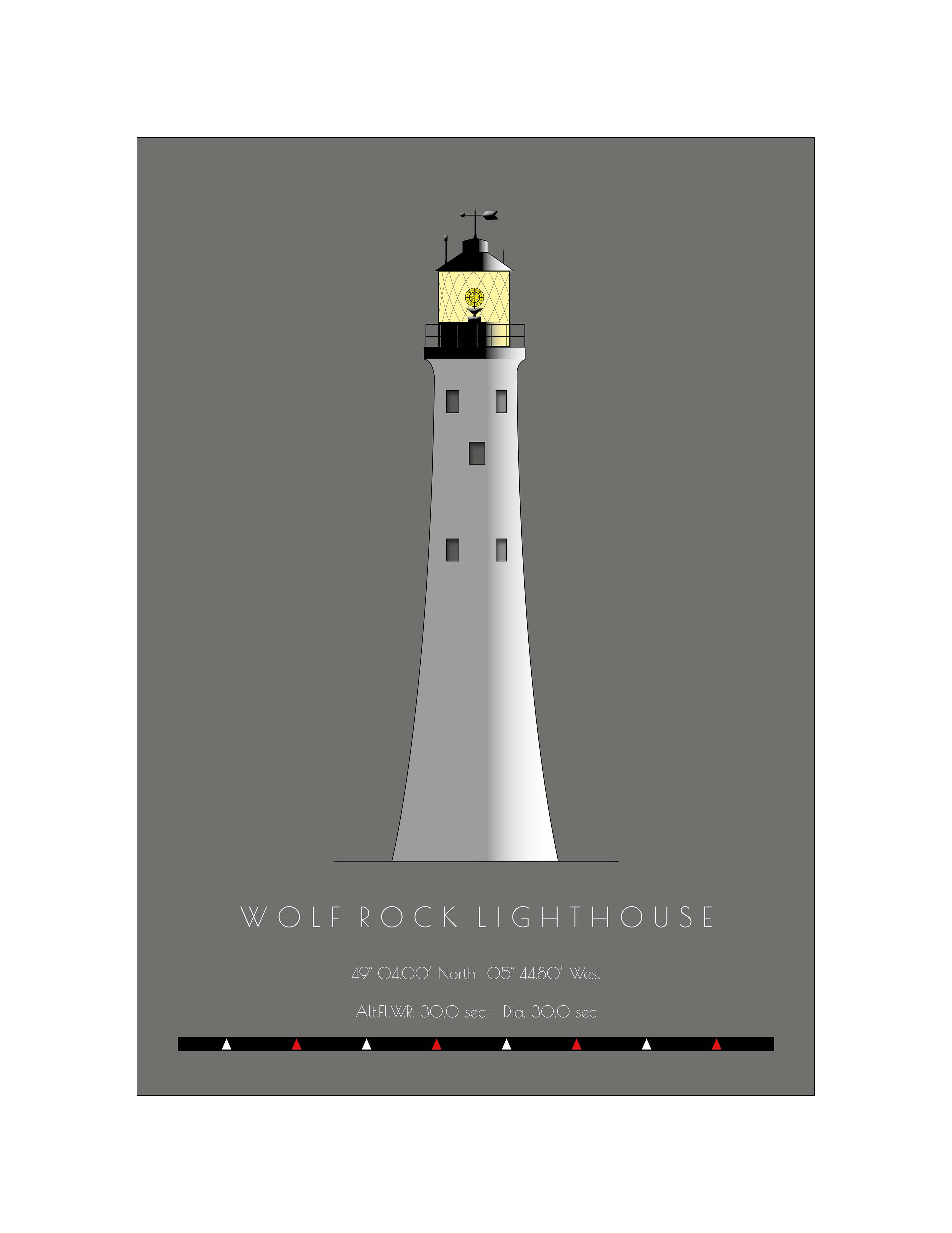 Wolf Rock Lighthouse - Single postcard
