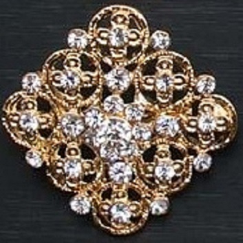 Small gold brooches - flowers in the round square shaped brooch 25 mm