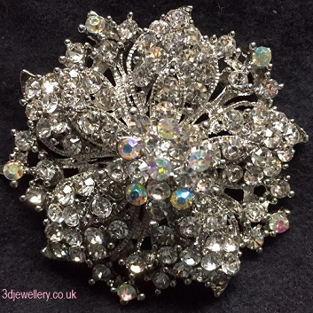 Large diamante brooches - glorious brooch with aurora borealis crystal centre 55 mm