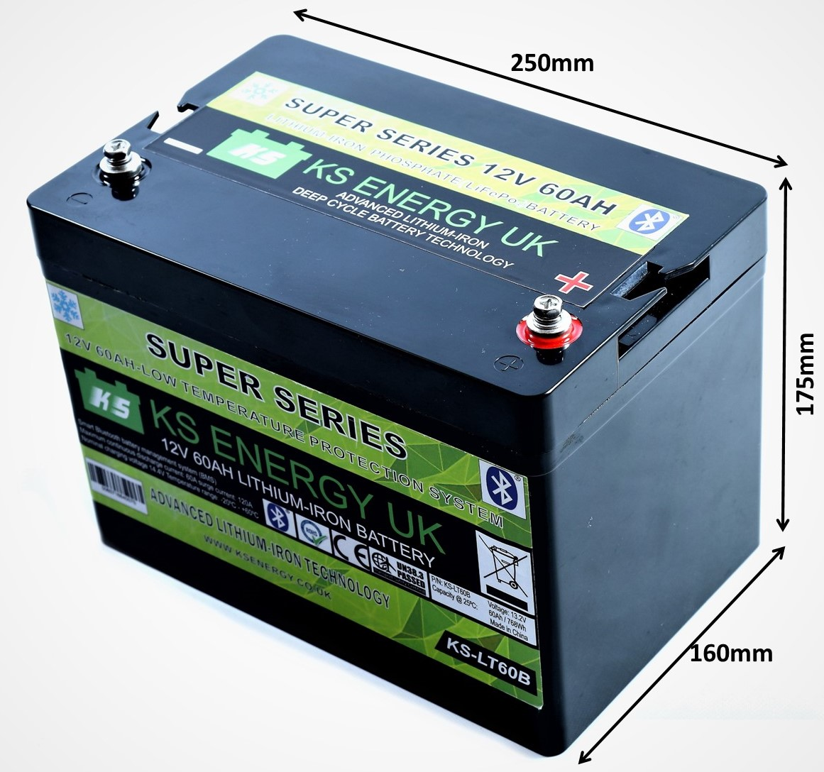 1): KS-LT60B 12v 60AH Bluetooth LiFePo4 lithium leisure battery