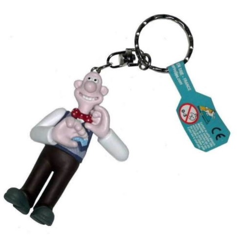 Wallace & Gromit - WALLACE WITH BOW TIE KEYCHAIN - Novelty Motorcyclist Figure Keyring