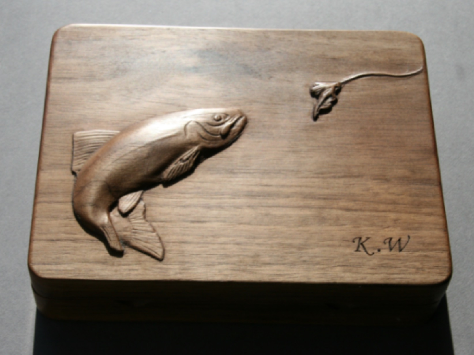 Fly box with carved Salmon and fly