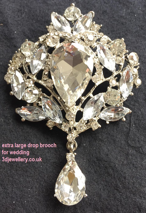 Tear drop brooches - majestic silver drop brooch 75 x 100 mm