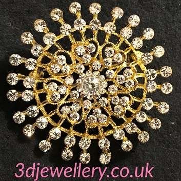 Gold brooches - diamante studded radiance brooch 50mm