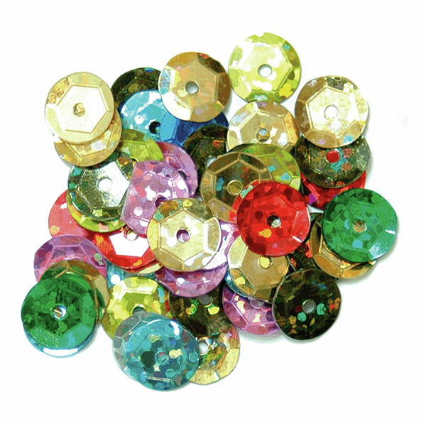 Cup Sequins 8mm, Multi Coloured Hologram