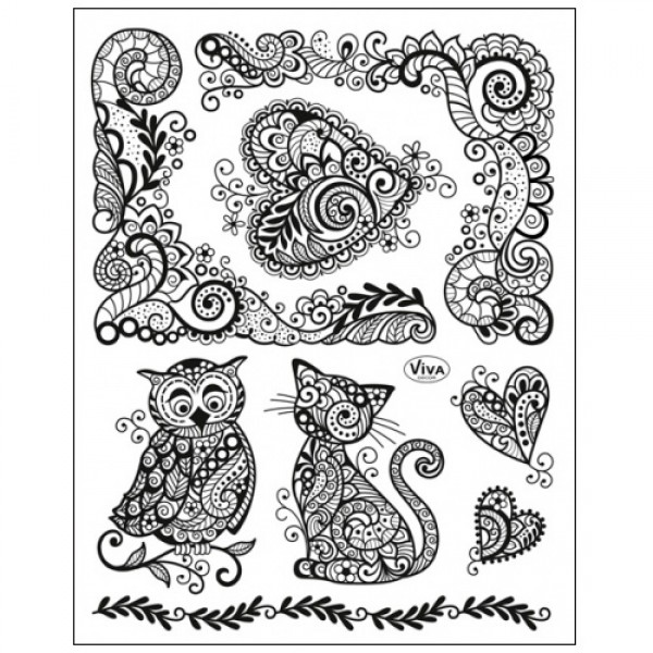 Stamp Set - Paisley Style Owl, Cat and Heart