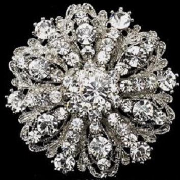Large diamante brooches - vintage style silver fancy round  brooch 50 mm
