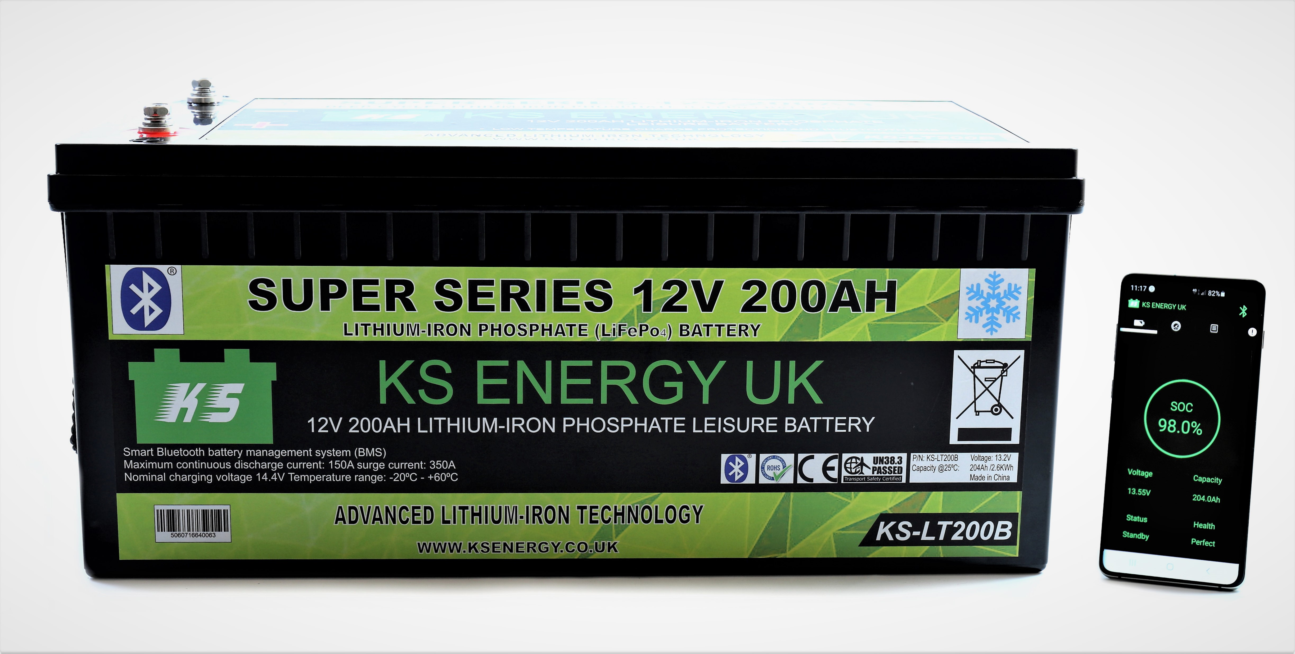 5): KS-LT200B 12v 200AH Bluetooth High Power LiFePo4 lithium leisure battery