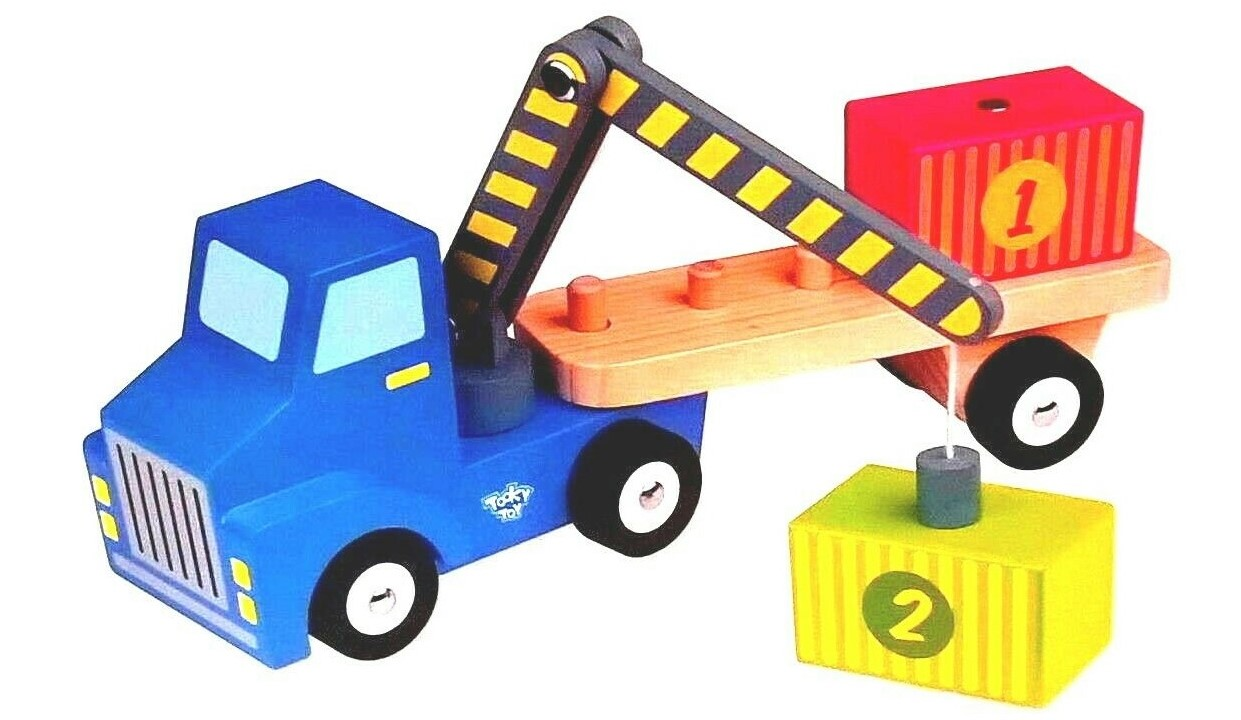 WOODEN TRUCK CONTAINER LOADER - 4 Piece Lorry Playset Toy Tooky Toys - Ages 2+