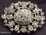 Large diamante brooches - antique lace oval diamante brooch 60 x 43 mm
