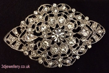large diamate brooches- flat vintage style diamond shaped brooch 70 x 44 mm