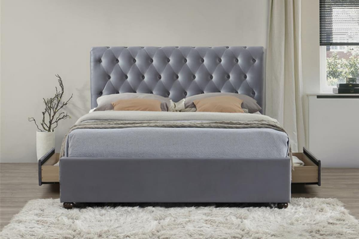 MARLOW 2 DRAWER GREY VELVET FABRIC BED – KING SIZE