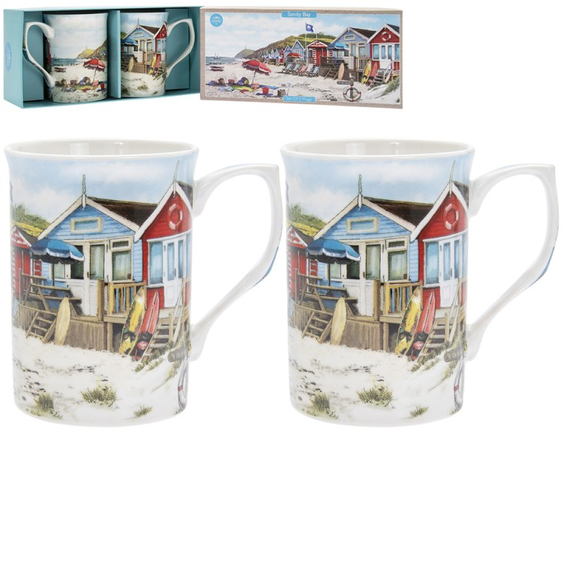 Sandy Bay 2 Fine China Mugs - Beach Seaside Nautical Gift Boxed set